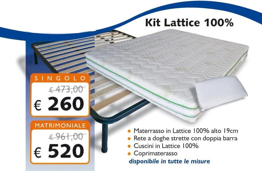 KIT LATTICE 100% CON MATERASSO 19 CM - RETE - CUSCINI ...