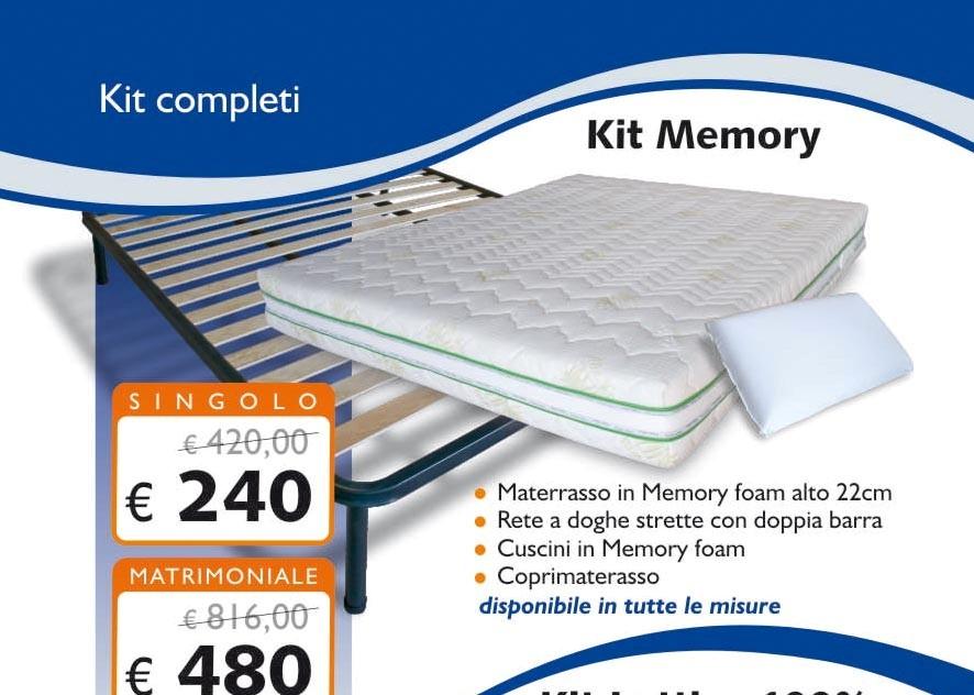 KIT MEMORY FOAM MATRIMONIALE 160X190 MATERASSO - RETE - CUSCINI ...