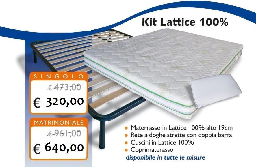Prezzi Materassi In Lattice Previdorm.Kit Lattice 100 Con Materasso 19 Cm Rete Cuscini