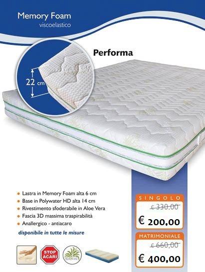 Materasso Memoria Di Forma.Materasso In Memory Foam Alto 22 Cm Modello Performa Tutte Le